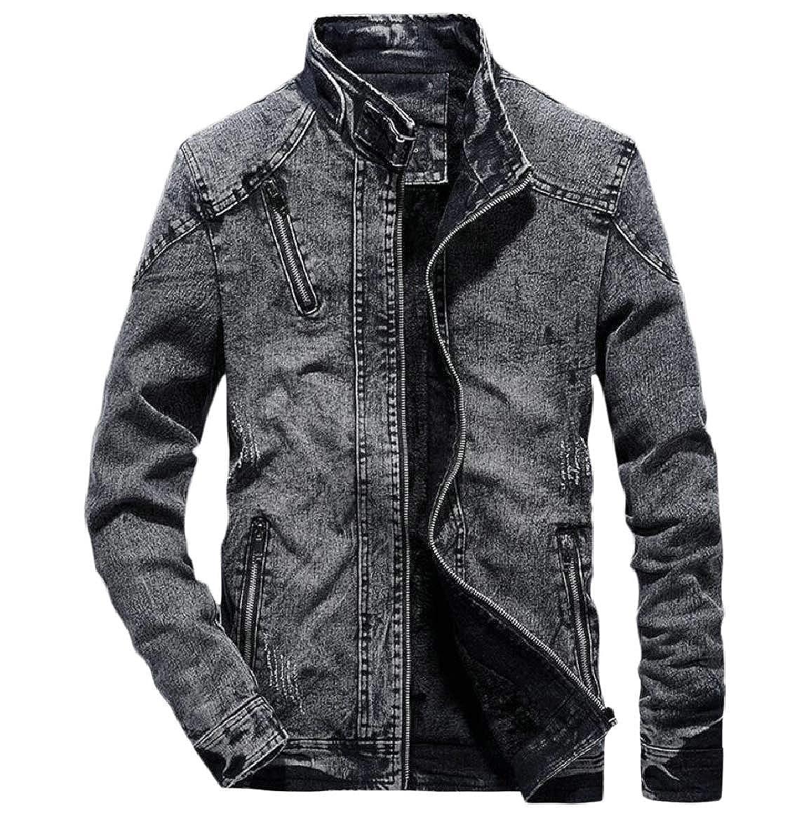 7bb7df600a Black Men's Slim Stand Stand Stand Collar Retro Long Sleeve Zipper Denim  Jackets 6bd512