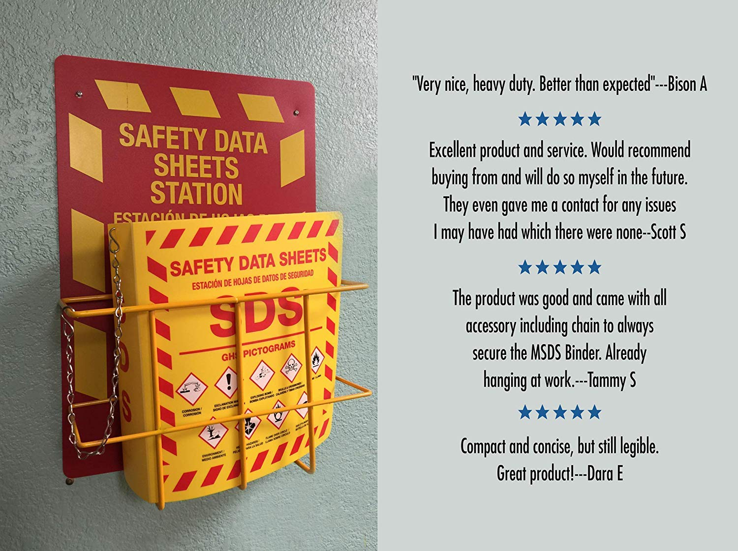 Bilingual Right to Know SDS Center Wire Rack and 3