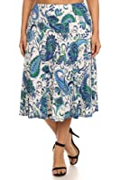 (Plus Size) Paisley Print High Banded Waist A-Line Midi Skirt (MADE IN U.S.A)