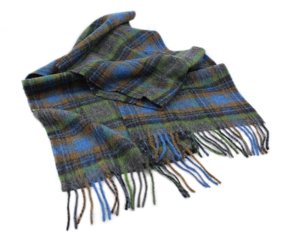 Biddy Murphy Irish Wool Scarf 10'' x 80'' 100% Wool Made in Ireland Blue Plaid by Biddy Murphy