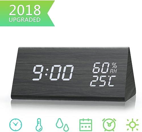 Digital Alarm Clock, Dual Time 12 24 Mode, Three Alarm Sets, Date LED Display, 3 Levels Brightness, Temperature and Humidity Wood Grain Clock for Bedrooms