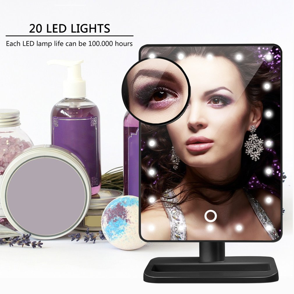 Kingpeony 20 LED Lighted Makeup Mirror with Removable 10x Magnifying Mirrors Touch Screen Cosmetic Mirror for Bathroom,Bedroom - Black