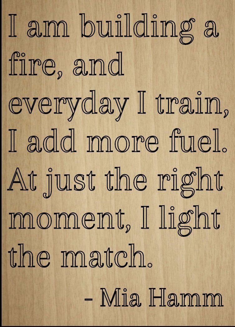 ''I am building a fire, and everyday I...'' quote by Mia Hamm, laser engraved on wooden plaque - Size: 8''x10'' by Mundus Souvenirs
