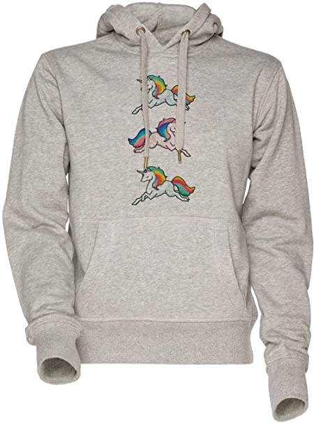 Arco Iris Unicornios Unisexo Hombre Mujer Sudadera con Capucha Gris Mens Womens Hoodie Sweatshirt Grey