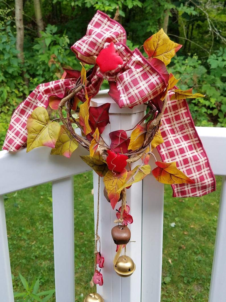 RubyShopUU Autumn Wreath Apple Home Decor Front Door Bells red Gingham Ribbon Grapevine Fall Leaves Country Farm Silk Flowers Housewarming Hostess Gift by RubyShopUU