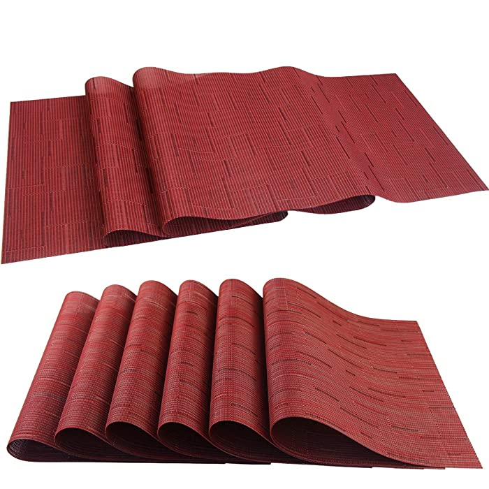 pigchcy Elegant Placemats with Matching Table Runner,Washable Placemats Crosswoven Vinyl Table mats Sets(6pcs Placemats+1pcs Table Runner,Same Style,Burgundy Red)