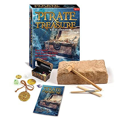 amazon com pirate treasure chest dig excavation kit toys games