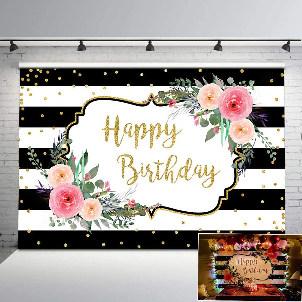 Wofawofa Happy Birthday Backdrop 9X6FT Vinyl VIP Invitation Backdrops Golden Banner Bokeh Sequins Glitter Spots Crown Photography Background for Carnival Masquerade Photo Studio Props BL115