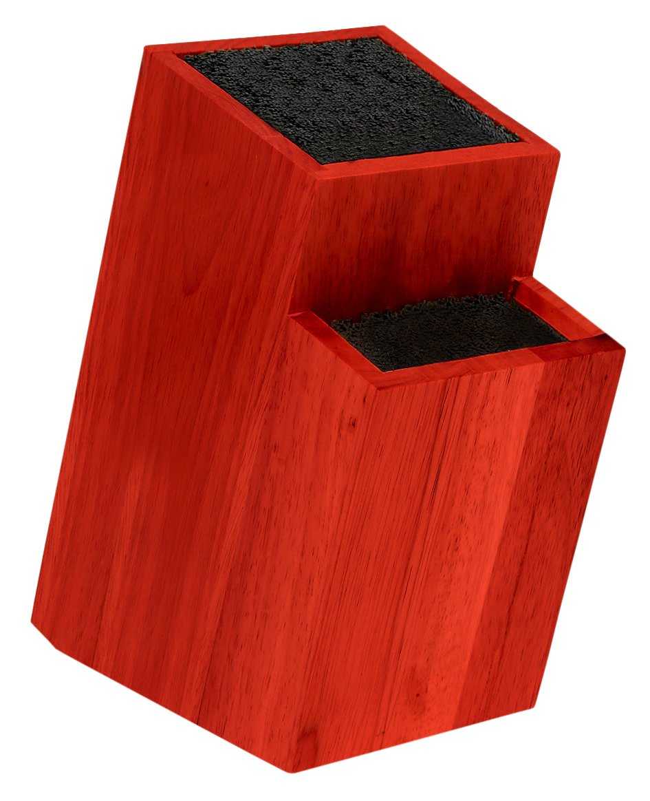 Melange Universal 2-Tier Knife Block, Red Wood