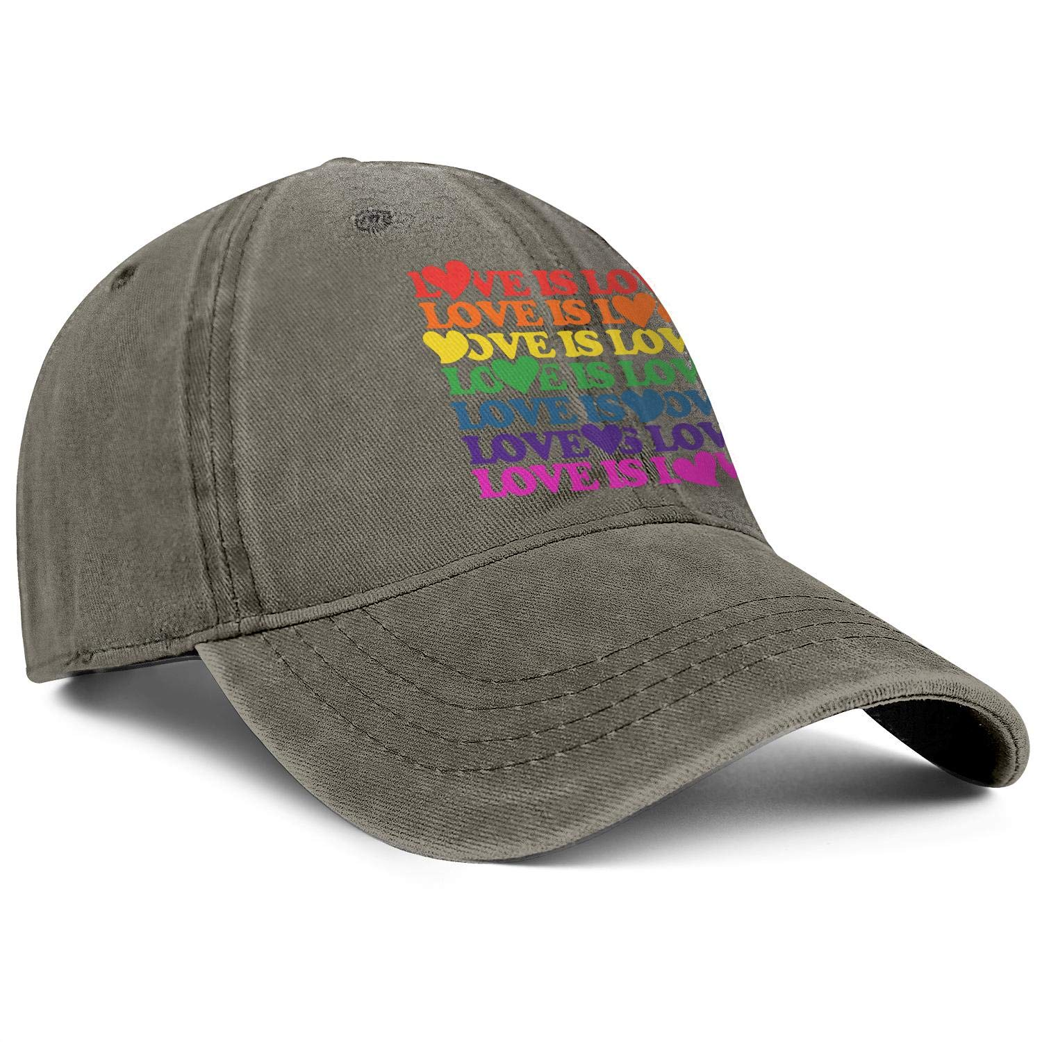 Tennis Hat for Women Love is Love Gay Pride Rainbow Flag Adjustable Breathable Vintage Trukcer