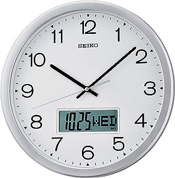 Seiko QXL007S - Reloj Digital y analógico de Pared de Cuarzo ...
