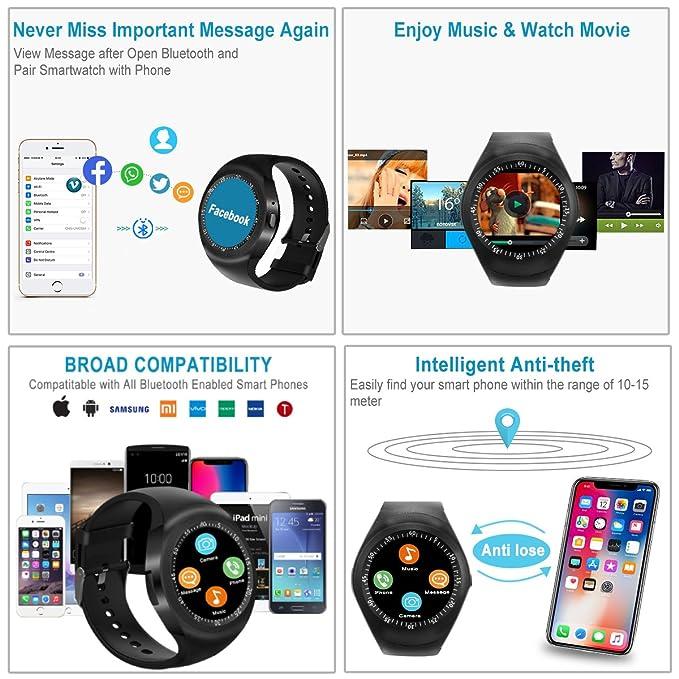 Reloj Inteligente, Smartwatch con SIM/TF Ranura Cámara Reproductor ...