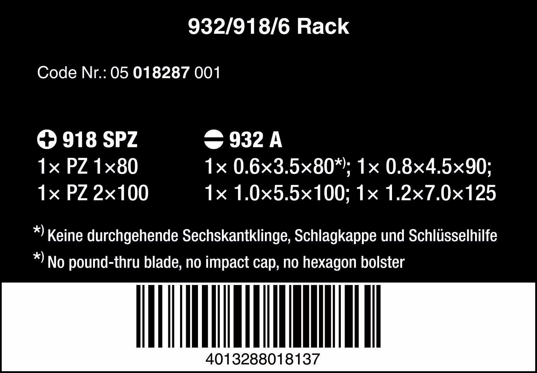 Rack 05018287001 6-teilig Wera Schraubendrehersatz 932//918//6 Kraftform Plus: Der Schraubmei/ßel