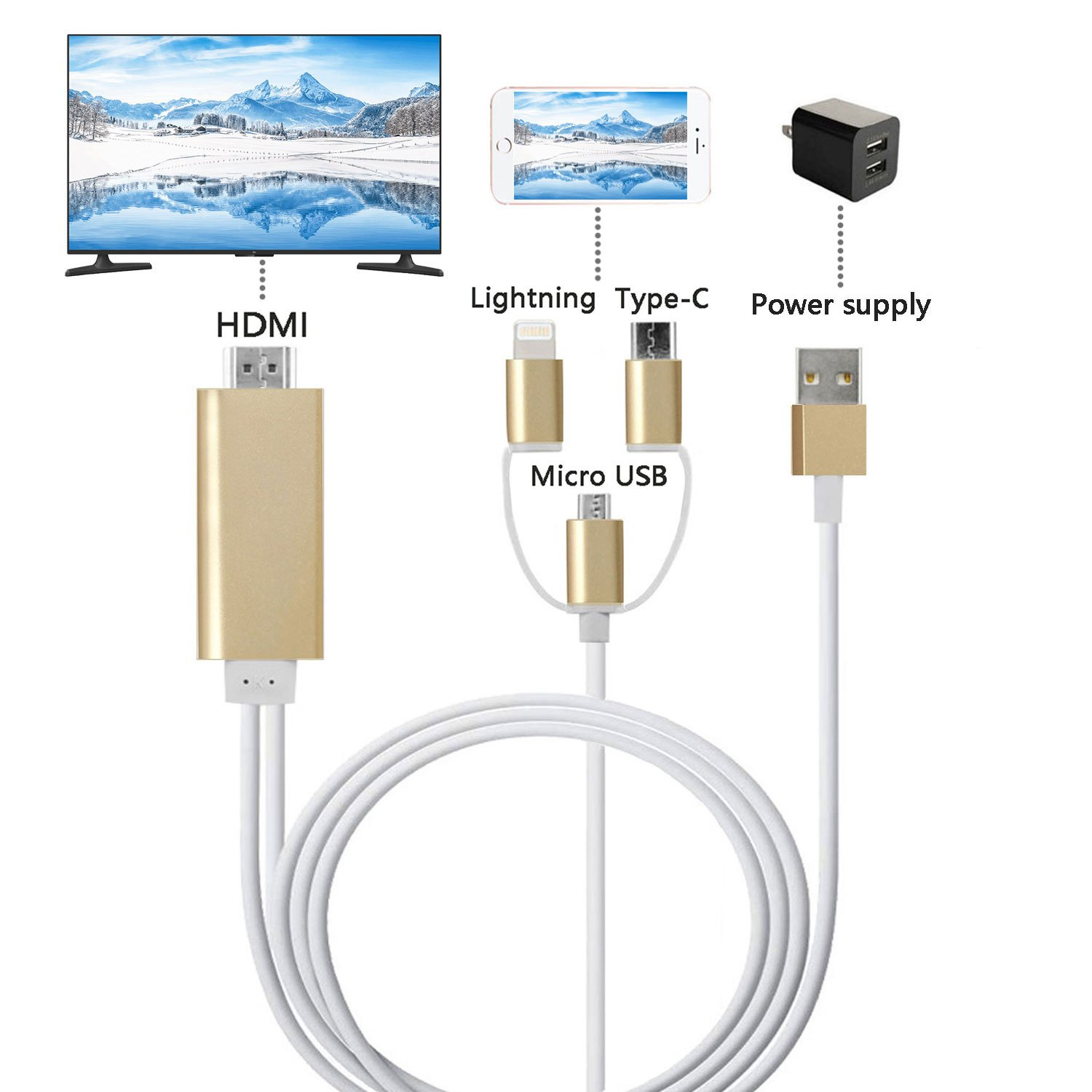 ZFKJERS 3 in 1 Lightning/Micro USB/Type-C to HDMI Cable, Mirror Mobile Phone Screen to TV/Projector/Monitor, 1080P HDTV Adapter for iPhone iPad and Android Phones (Gold)