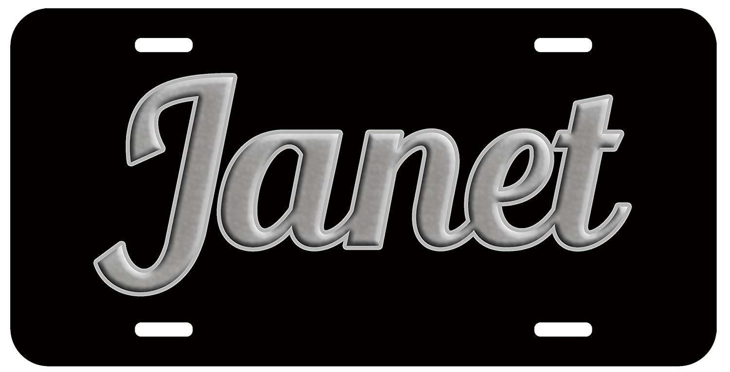 Personalized Name on License Plate - Black Grey Fancy Custom Auto Car Tag Top Craft Case