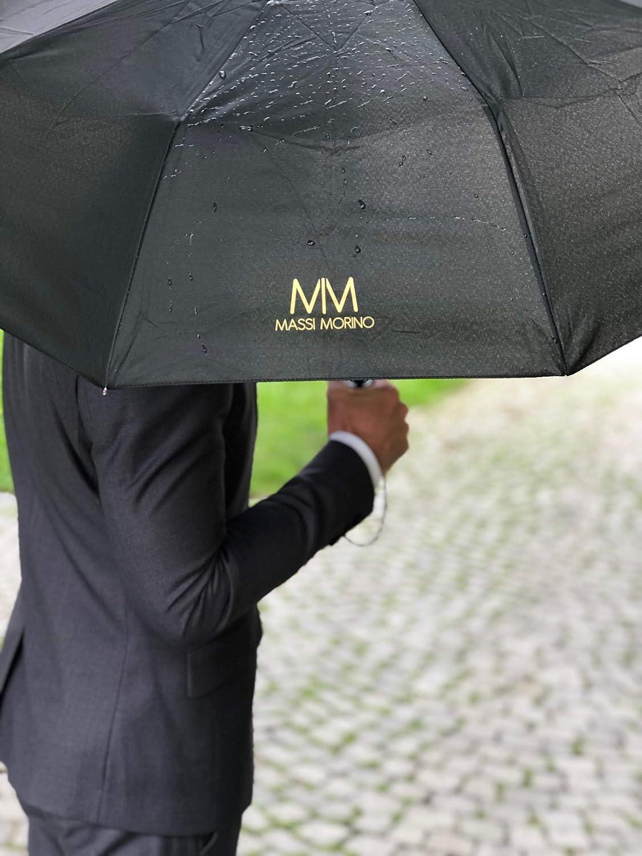 Parapluie de Poche Robuste avec Housse en Tissu et /étui Rigide Massi Morino /® Parapluie avec Fonction douverture//Fermeture enti/èrement Automatique dans Un Design Classique