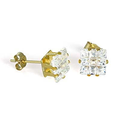 c8d72b1a8 9ct Gold & 7mm Square CZ Crystal Stud Earrings: Amazon.co.uk: Jewellery
