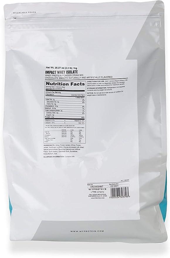 MyProtein Impact Whey Isolate (1000G) 1000 g: Amazon.es ...