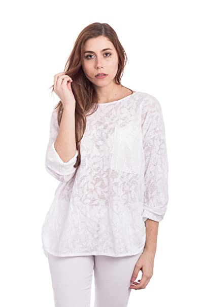 Abbino 907-05 Camisa Blusa Top para Mujer - Hecho en ITALIA - 3 Colores