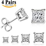 LIEBLICH Princess Cut Cubic Zirconia Stud Earrings Stainless Steel Square Earrings Set 4 Pairs 3mm-6mm