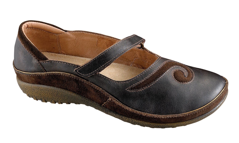 Naot Women's Matai Mary Jane Flat, Black Pearl Leather/Hash Suede, 42 EU/11-11.5 M US