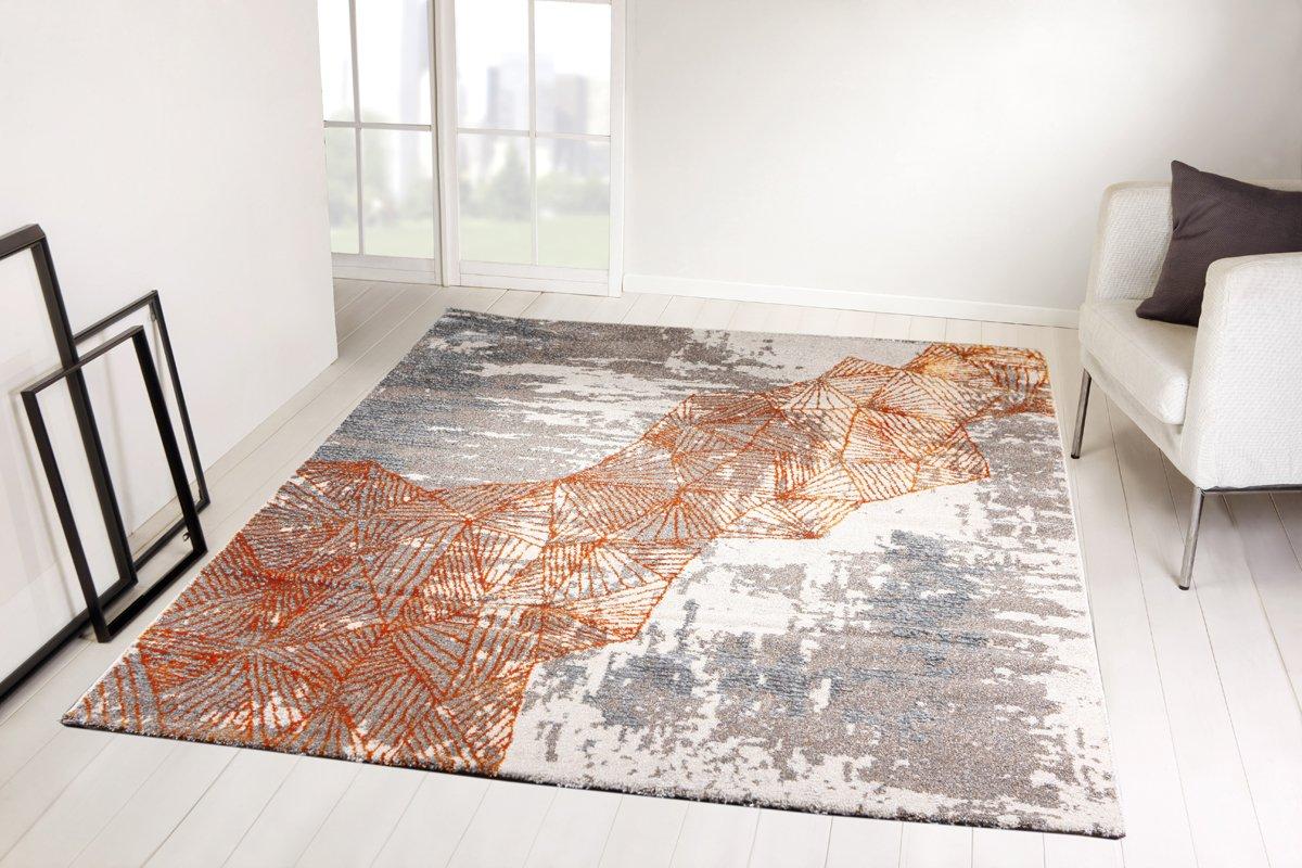 Taracarpet Moderner Designer Teppich Ariana Wohnzimmer und Schlafzimmer geeignet 6099 Silber grau orange 120x170 cm