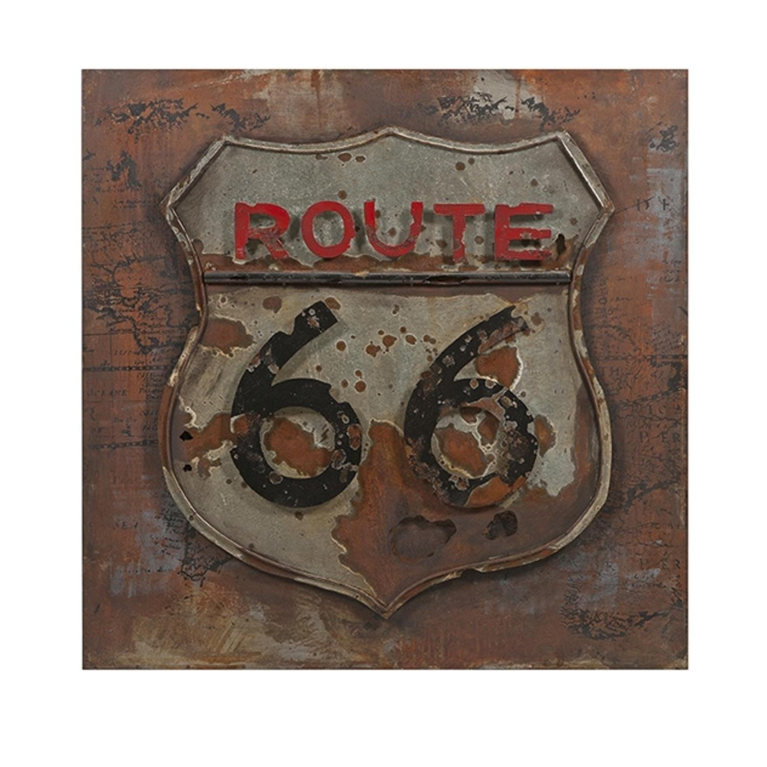 31.5'' Hand Painted Historic Route 66 Three Dimensional Distressed Metal Art