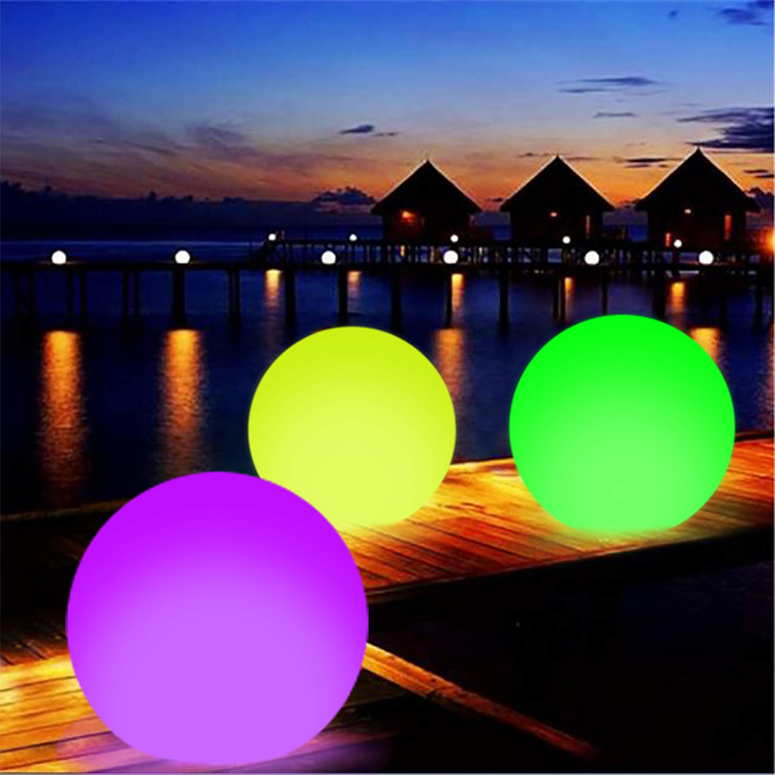 Party Decorations LED Pool Lights Glow Beach Balls Inflatable Floating Waterproof Light Up 16-Inch with Colors Changing Garden, Wedding, Lawn, Patio, Xmas, Room Decor (1 PCS) by Likitoa