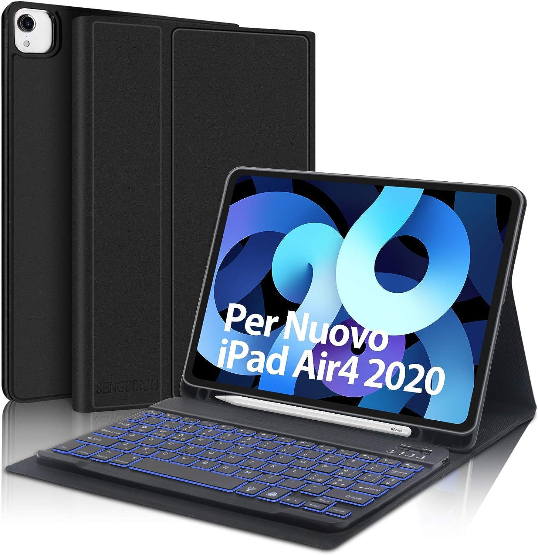 SENGBIRCH Teclado para iPad Air 4 2020 10,9, funda con teclado italiano para iPad Air 4 2020 10,9/iPad Pro 11 2020, con 7 colores retroiluminados, ...