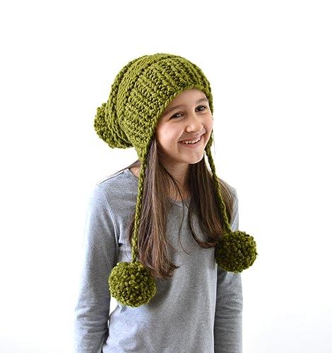 b87c552c603 Amazon.com  Knit Pom Pom Ear Flap Slouchy Hat Beanie
