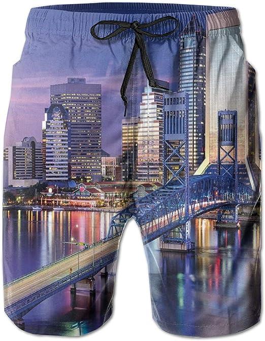 Mens Beach Shorts Swim Trunks, Urban Cityscape Bridge Office Buildings Jacksonville Florida, Summer Cool Quick Dry Board Shorts Bathing Suit: Amazon.es: Ropa y accesorios