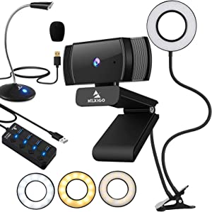 1080P AutoFocus Webcam with 2ft USB Hub Switch, Microphone, 3.5 Inch Selfie Ring Light, Mount Stand, and Privacy Cover, for Streaming Online Class, Zoom Skype MS Teams, PC Mac Laptop Desktop