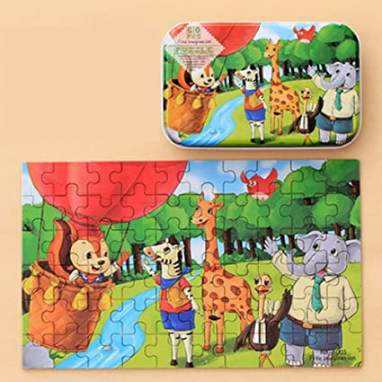 Leoie 60pcs Childrens Wooden Puzzles Baby Early Education Educational Toys Gift with Storage Box 16#