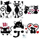 Lictin 8 Pezzi Rimovibili adesivi interruttore di gattino Camera da letto e Salotto del Muro Interruttore impermeabile Decorazione Art Murale(nero)