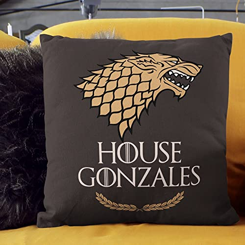 Game of Thrones Pillow. Perfect Game of Thrones Gift for Die-Hard Fans. 18×18 inches Personalized Pillow with Symbol of Most-Loved Clan The House of Stark. Soft Durable. Handcrafted in The USA.
