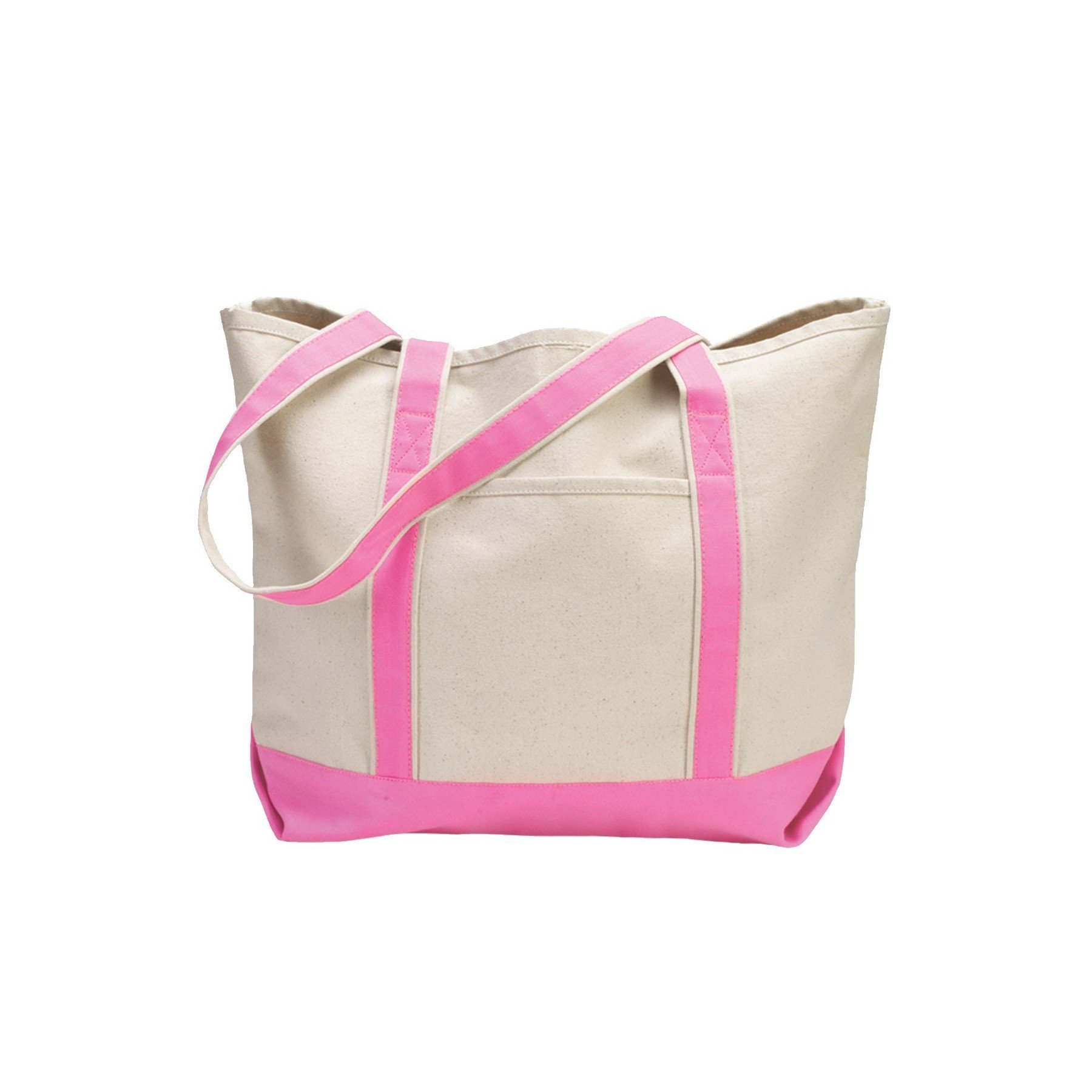 Canvas Tote Beach Bag - Strong Large Bags to Carry Beach Gear and Wet Towels. Large Open Main Compartment With Hook-and-Loop Closure and Shoulder Straps for Easy Carrying (Pink)