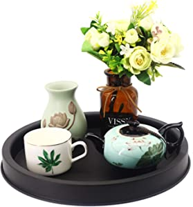 HUANGXIN 11.5'' Round Serving Tray Holder Iron Farmhouse Trays Home Decorative Centerpiece for Coffee Table Kitchen Dining Room Indoor Outdoor Rustic Decor Platter