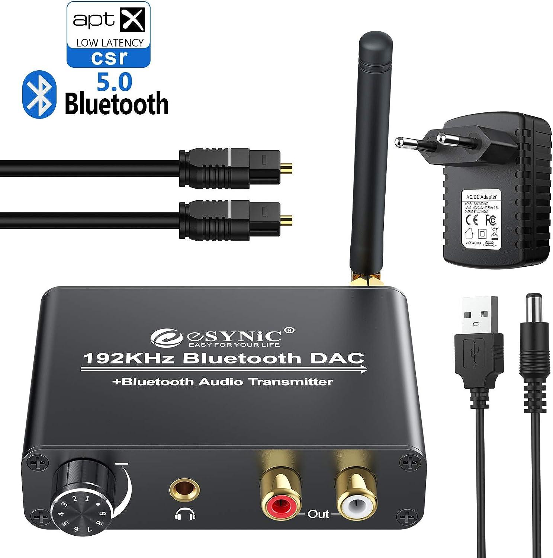 eSynic 192kHz DAC Convertidor Digital a Analógico Compatible con aptX y Baja Latencia Transmisor Bluetooth 5.0 Incorporado Volumen Ajustable para TV, Auriculares de Bluetooth, Altavoces de Bluetooth