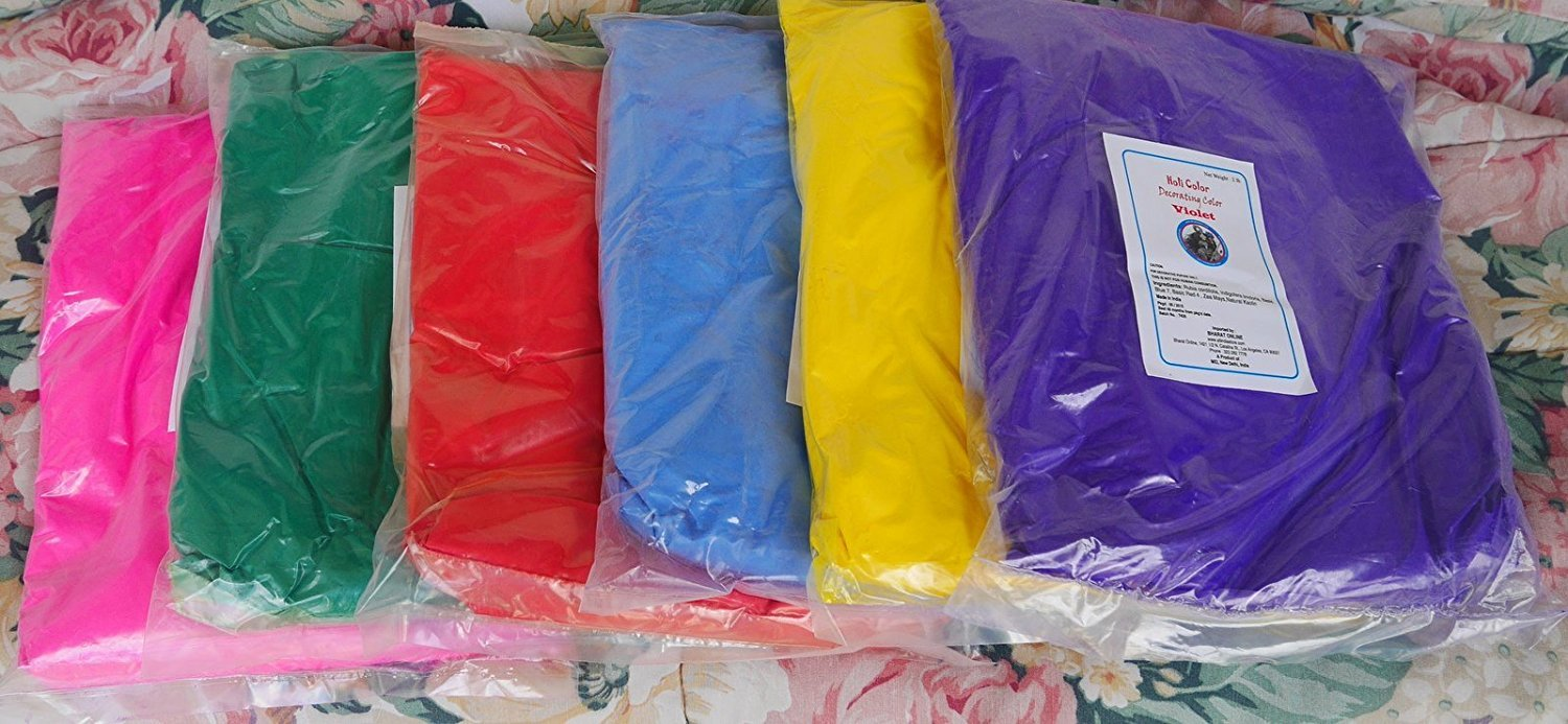 Gulaal Colors - holi colors - color powders - 12 Lbs 6 colors BHARAT ONLINE BRAND, SELLS ONLY FROM THIS STORE (2lbs ea color) RED OR ORANGE, PINK, LIGHT BLUE, GREEN, YELLOW, AND PURPLE - SHIPS FROM LOS ANGELES 3 TO 6 DAYS DELIVERY