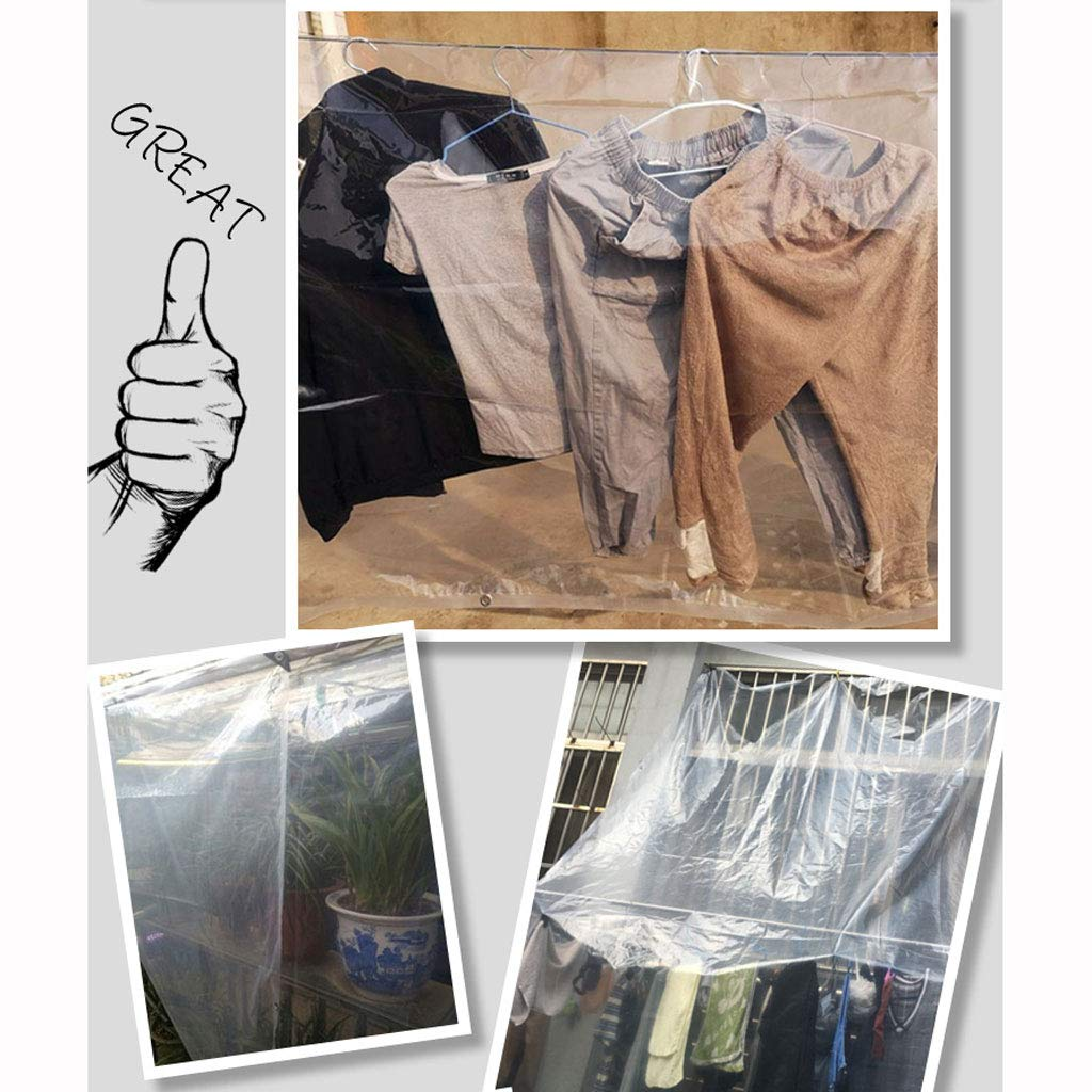 MRZHW 0.12mm Clear Tarpaulin with Eyelets, with Grommets and Reinforced EdgesThickness Heavy Duty Waterproof Polythene Sheeting,48m by MRZHW (Image #8)