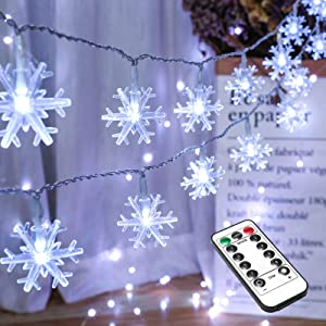 BrizLabs Snowflake Christmas Lights, 16.08ft 40 LED Christmas Lights with Remote, LED String Lights Battery Operated, 8 Modes Xmas Lights Waterproof for Outdoor Indoor Bedroom Decorations, Cool White
