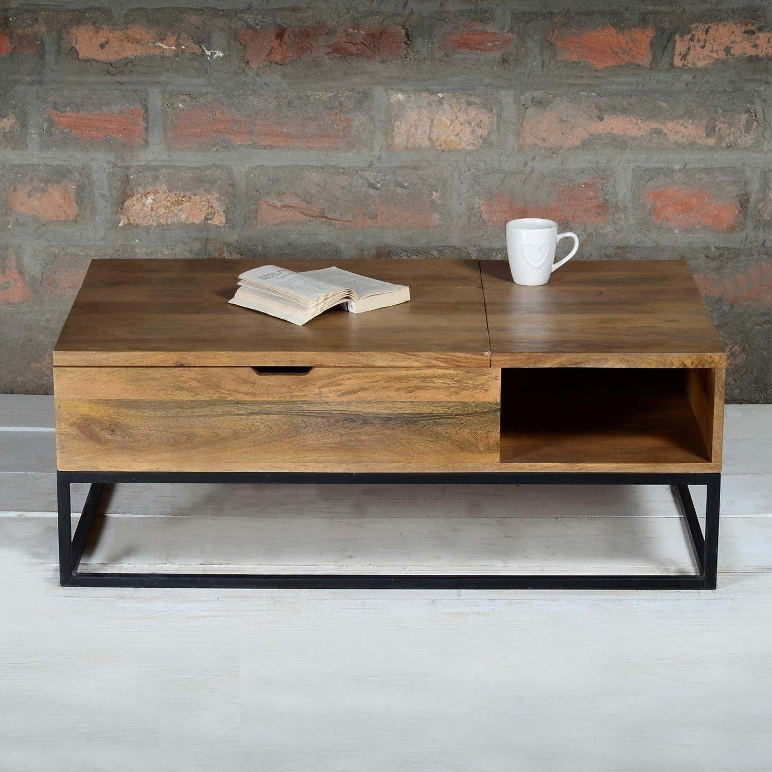 Suri Industrial Coffee Table With Drawer In Mango Wood And Metal