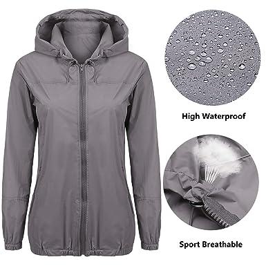 10e906be2ae Beyove Women s Womens Lightweight Raincoat Hooded Waterproof Active Outdoor  Rain Jacket