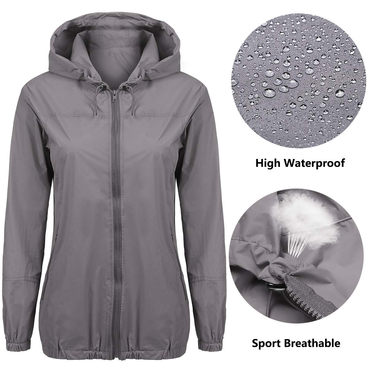 Beyove Women s Lightweight Rain Jacket Waterproof Hood Fashion Outdoor Rain  Coat S-XXL product image db9bfa64b