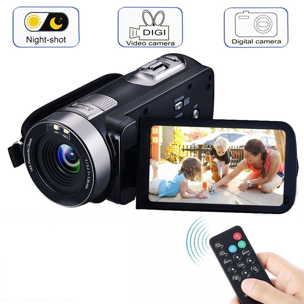 Video Camera Camcorders, VPRAWLS Remote Control Handheld Digital Camera with IR Night Vision, HD 1080P 24.0MP 16X Digital Zoom Video Recorder with 3.0'' LCD and 270 Degree Rotation Screen (2 Batteries)