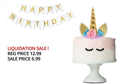 UNICORN CAKE TOPPER PARTY SUPPLIES Handmade Easy To Assemble Set Of