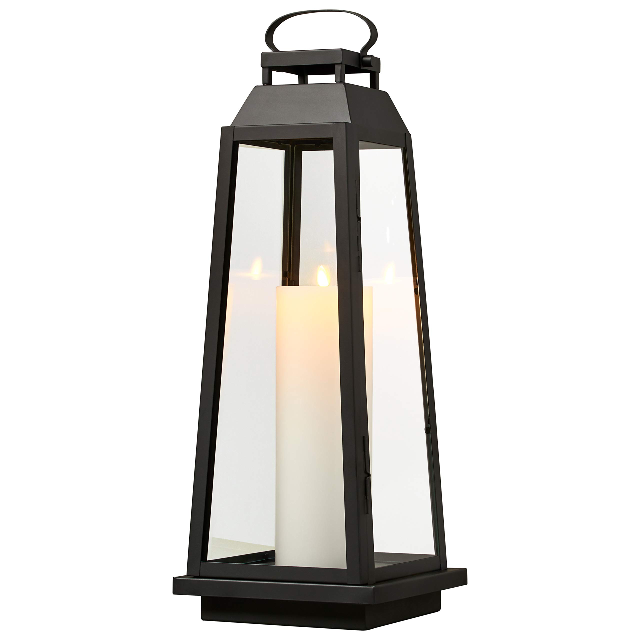 Stone & Beam Modern Traditional Decorative Metal and Glass Lantern with Candle, 25''H, Black, For Indoor Outdoor Use by Stone & Beam (Image #4)