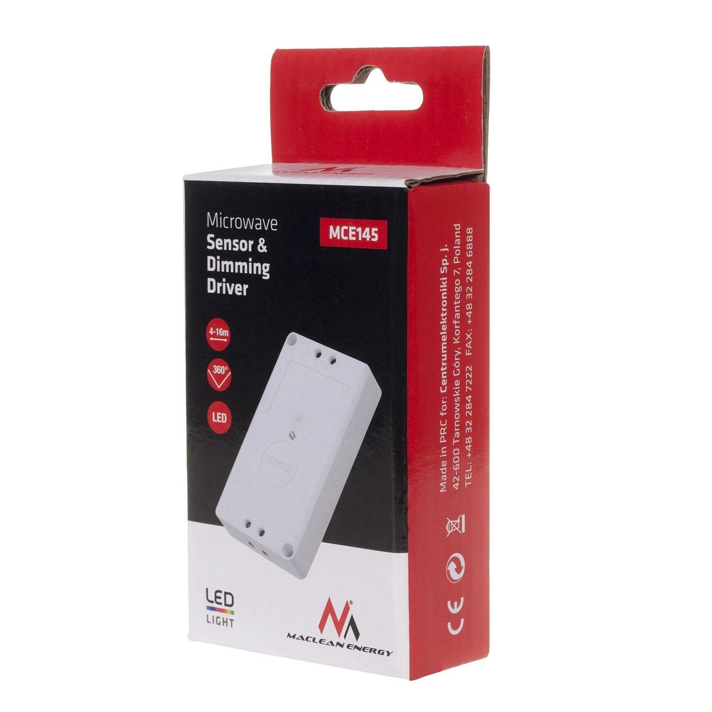 sensor de movimiento por microondas con la fuente de alimentaci/ón de led Maclean Energy MCE145 con atenuador
