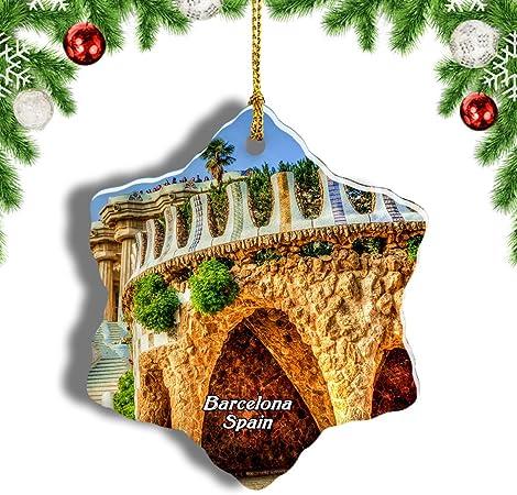 Weekino España Palacio Güell Barcelona Decoración de Navidad Árbol de Navidad Adorno Colgante Ciudad Viaje Porcelana Colección de Recuerdos 3 Pulgadas: Amazon.es: Hogar