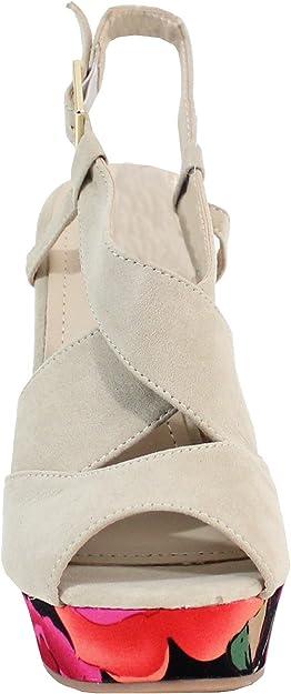 By Shoes Sandale avec Plateforme Style Fleuris Femme